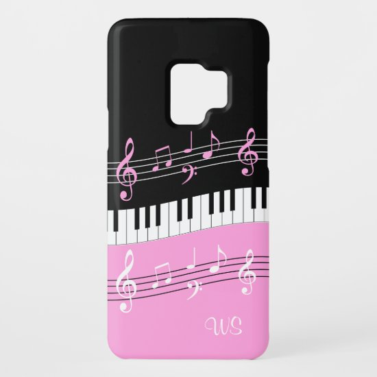 Monogram Hot pink Black White Piano Keys and Notes Case-Mate Samsung Galaxy S9 Case