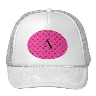 Monogram hot pink cherry pattern trucker hat