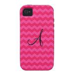 Monogram hot pink chevrons iPhone 4 covers
