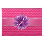 Monogram hot pink chevrons pink daisy place mat