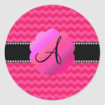 Monogram hot pink chevrons round stickers