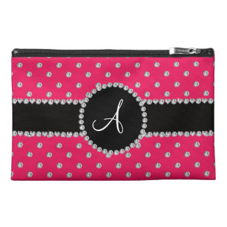 Monogram hot pink diamonds polka dots travel accessory bags