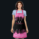 """Monogram Hot Pink Dripping Glitter and Black Name Apron<br><div class=""""desc"""">Dripping electric neon hot pink simulated glitter dripping over a simple jet black background . this new luxury all over print full bistro apron template allows you to add your name, monogram, or whatever text you'd like. gorgeous, chic, beautiful, feminine, sophisticated and unique, the perfect gift for any glitter loving...</div>"""