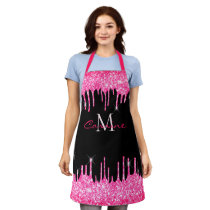 Monogram Hot Pink Dripping Glitter and Black Name Apron