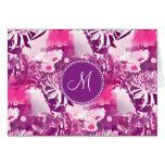 Monogram Hot Pink Flower Bouquet Collage Cards