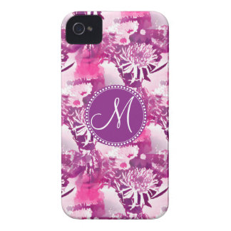 Monogram Hot Pink Flower Bouquet Collage iPhone 4 Case