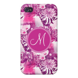 Monogram Hot Pink Flower Bouquet Collage iPhone 4/4S Cases