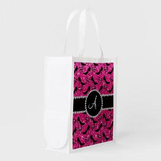 Monogram hot pink glitter black high heels bow grocery bags