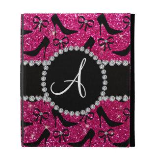 Monogram hot pink glitter black high heels bow iPad folio case