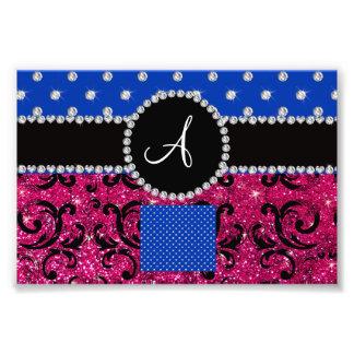 Monogram hot pink glitter damask blue diamonds photo print