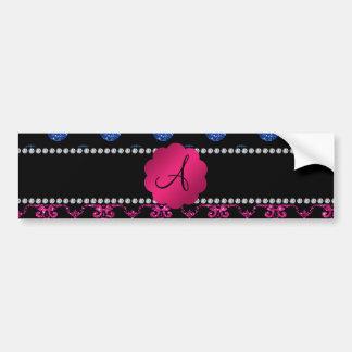 Monogram hot pink glitter damask blue dots car bumper sticker