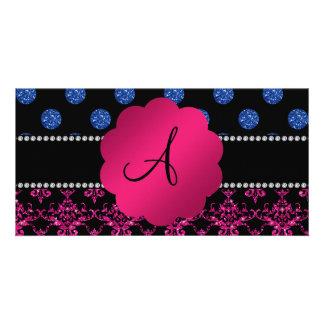 Monogram hot pink glitter damask blue dots photo card