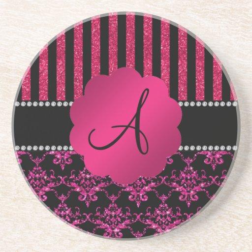 Monogram hot pink glitter damask pink stripes beverage coasters
