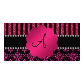 Monogram hot pink glitter damask pink stripes photo card