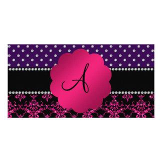 Monogram hot pink glitter damask purple diamonds photo card