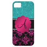 Monogram hot pink glitter damask turquoise glitter iPhone 5 cases