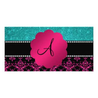 Monogram hot pink glitter damask turquoise glitter photo card