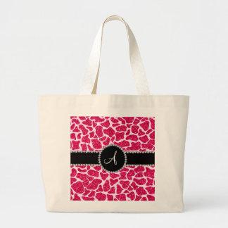 Monogram hot pink glitter giraffe pattern tote bags