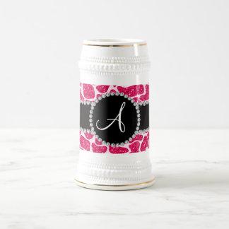Monogram hot pink glitter giraffe pattern mug