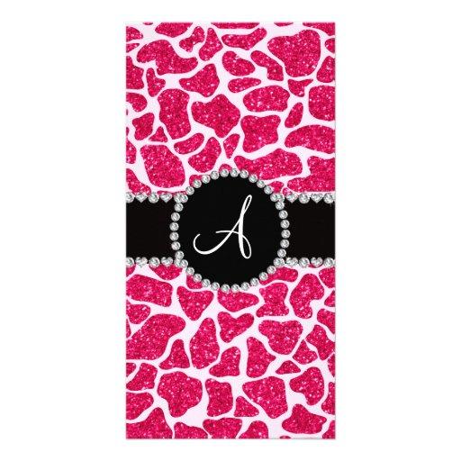 Monogram hot pink glitter giraffe pattern personalized photo card