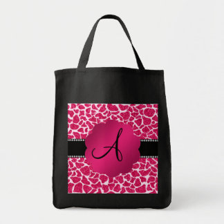 Monogram hot pink glitter giraffe print bag