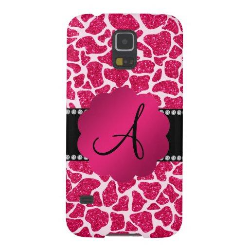 Monogram hot pink glitter giraffe print galaxy nexus case