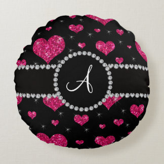 Monogram hot pink glitter hearts black diamonds round pillow