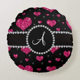 Monogram hot pink glitter hearts black diamonds round pillow