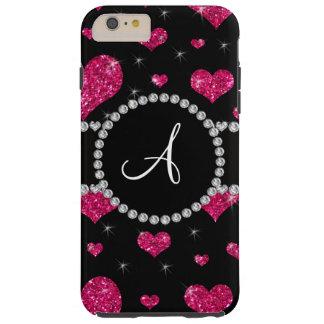 Monogram hot pink glitter hearts black diamonds tough iPhone 6 plus case