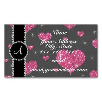 Monogram hot pink glitter hearts black diamonds magnetic business cards