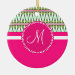 Monogram Hot Pink Green Aztec Andes Tribal Zig Zag Double-Sided Ceramic Round Christmas Ornament