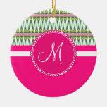 Monogram Hot Pink Green Aztec Andes Tribal Zig Zag Christmas Ornament