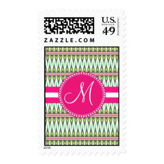 Monogram Hot Pink Green Aztec Andes Tribal Zig Zag Stamp