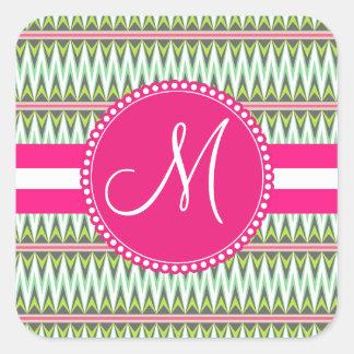 Monogram Hot Pink Green Aztec Andes Tribal Zig Zag Square Sticker