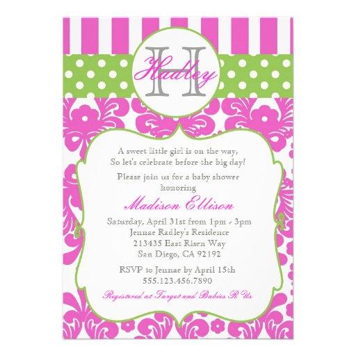 monogram hot pink green baby shower invitation 5 x 7 invitation c
