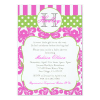 Monogram Hot Pink Green Baby Shower Invitation