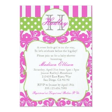Toddler & Baby themed Monogram Hot Pink Green Baby Shower Invitation