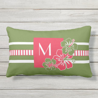 Monogram Hot Pink Hibiscus with Lime Green Outdoor Pillow