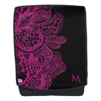 Monogram Hot Pink Lace On Black Backpack