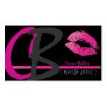 Monogram, hot pink lips business card