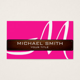 Monogram Hot Pink Modern Leather Look Business Card
