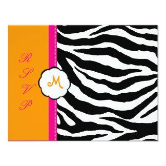 Monogram/Hot Pink/Orange/Zebra RSVP 4.25x5.5 Paper Invitation Card