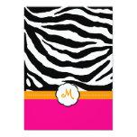 Monogram/Hot Pink/Orange/Zebra Wedding Invitations