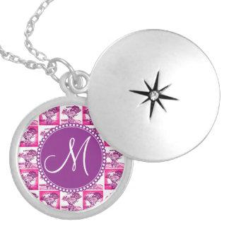 Monogram Hot Pink Purple Flower Bouquet Pop Art Custom Necklace