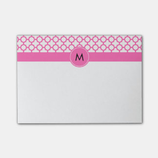 Monogram Hot Pink Quatrefoil Pattern Post-it® Notes