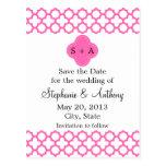 Monogram Hot Pink Quatrefoil Save the Date Post Cards