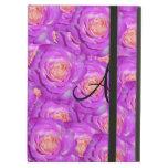 Monogram hot pink roses iPad folio case