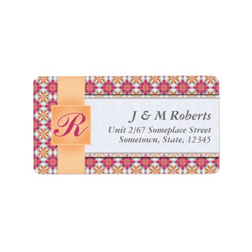Monogram Hot Pink Satin Silver Address Label