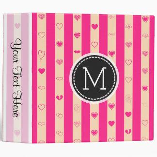 Monogram Hot Pink Stripes Elegant Modern Heart 3 Ring Binder