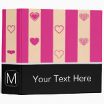Monogram Hot Pink Stripes Modern Heart Pattern 3 Ring Binder